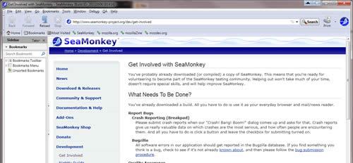 Aperçu du navigateur web SeaMonkey