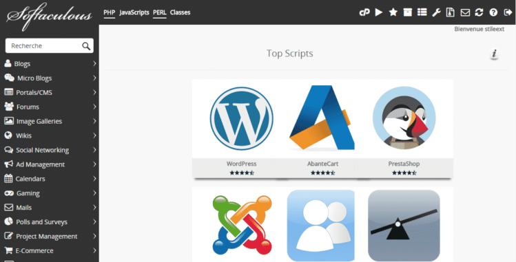 Interface Softaculous pour installer WordPress gratuitement