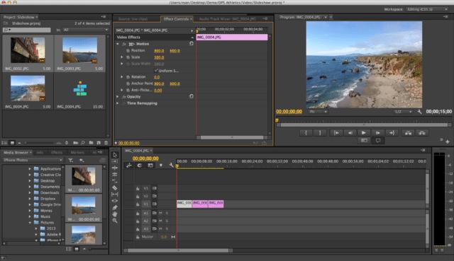 L'interface d'Adobe Premiere Pro