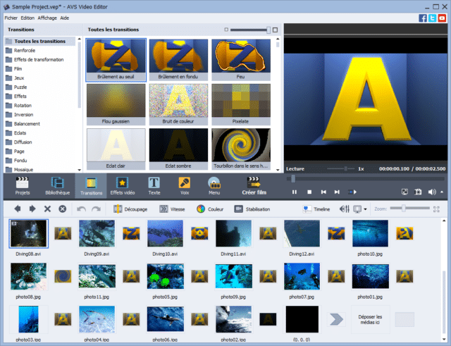 L'interface AVS Video Editor