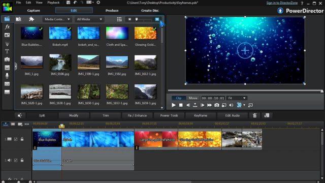 """L'interface de PowerDirector pour l""""édition vidéo"""
