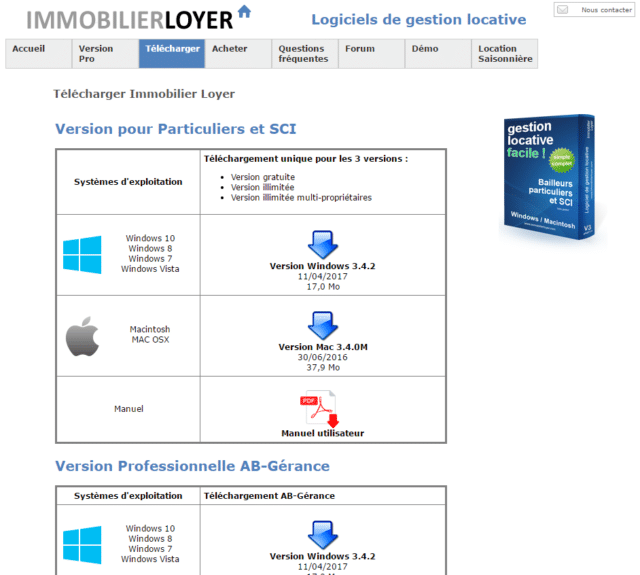 Interface du logiciel de gestion locative Immobilierloyer.com