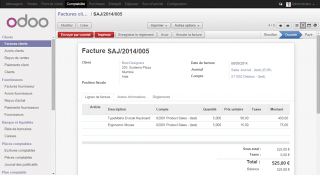 Interface du logiciel de facturation Odoo