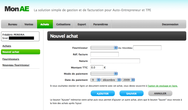 Interface du logiciel de facturation MonAE