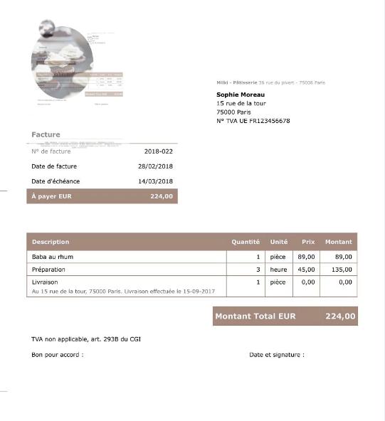 Un exemple de facture généré par Debitoor