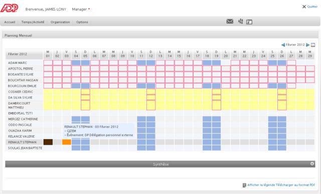 Interface du logiciel fiche de paie ADP