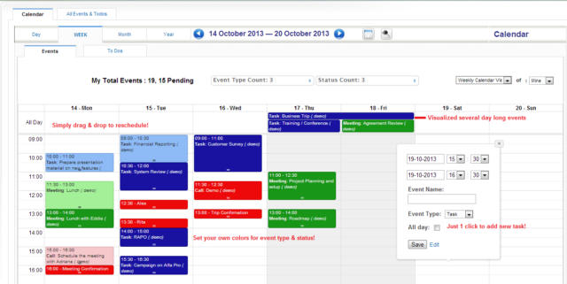 Vue calendrier du logiciel CRM Vtiger