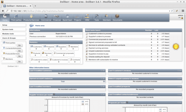 Interface du CRM gratuit Dolibarr