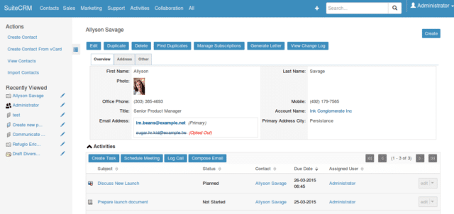 Interface du CRM gratuit SuiteCRM