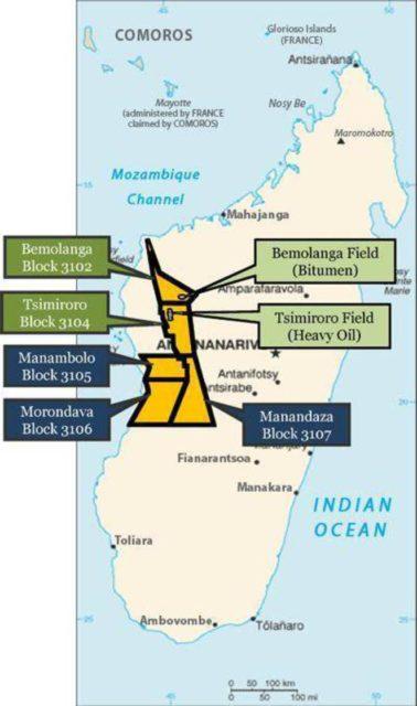 Carte des sites d'exploration petrolière dans l'ouest