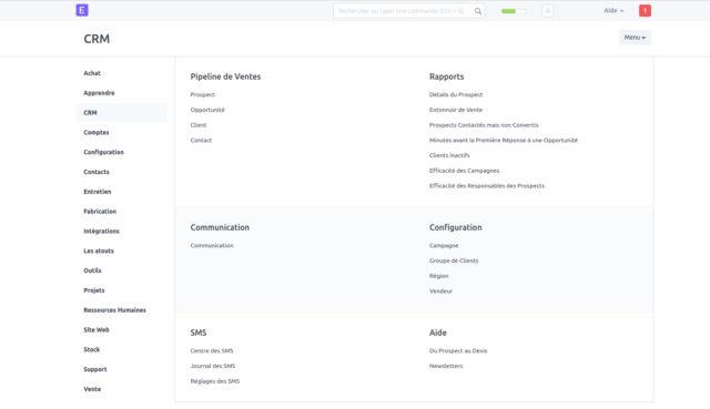 Capture d'écran ERPnext