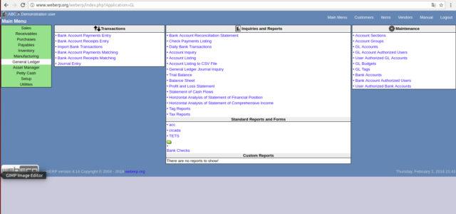 Capture d'écran WebERP