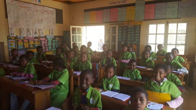 Une classe de l'école associative L'île aux enfants