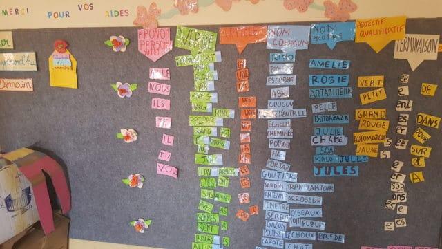 Un tableau de l'école associative L'île aux enfants