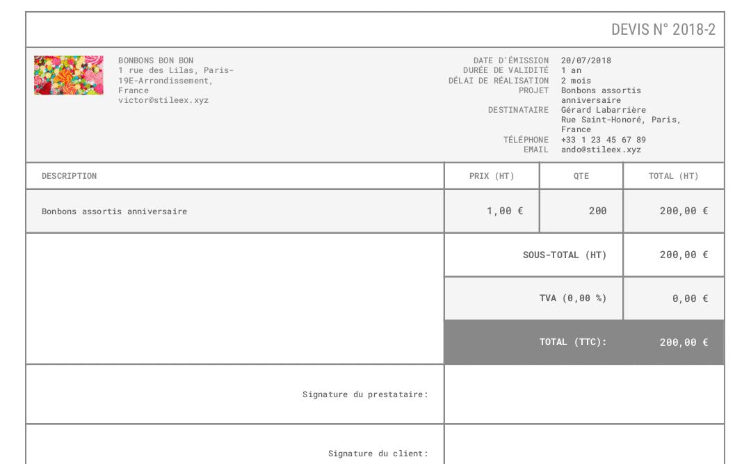 Voici un exemple de devis créé sur Algorithme.io
