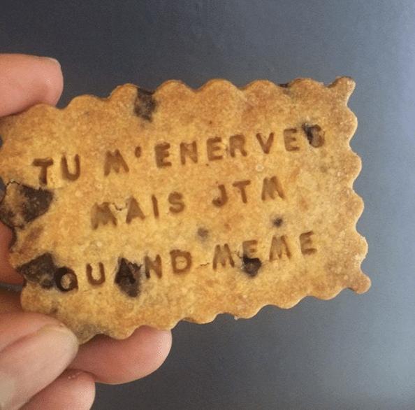 Un biscuit fourré aux pépites de chocolat