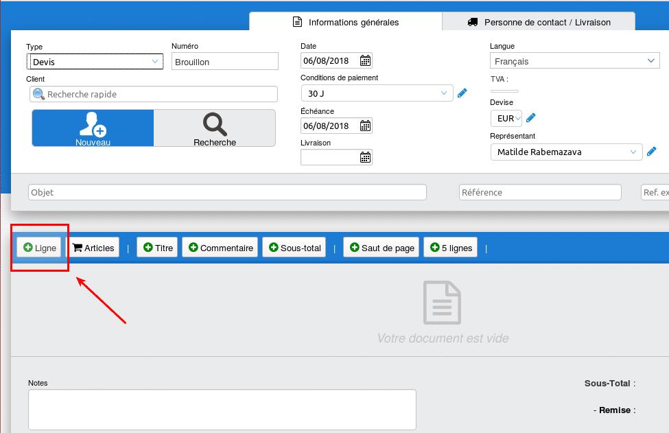 Cliquez ici pour ajouter des items à votre document
