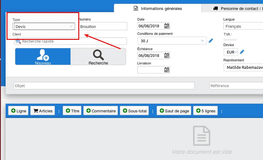 Le menu déroulant permettant de switcher entre Devis et Factures