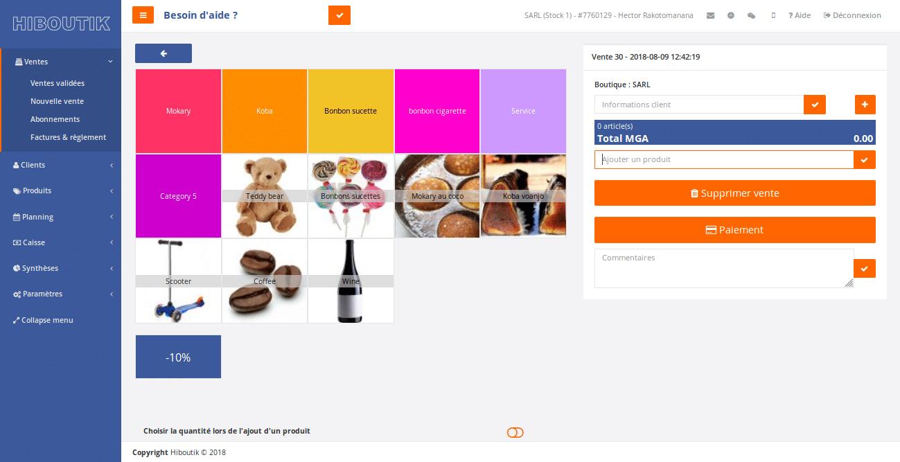L'interface front-office du logiciel de caisse Hiboutik