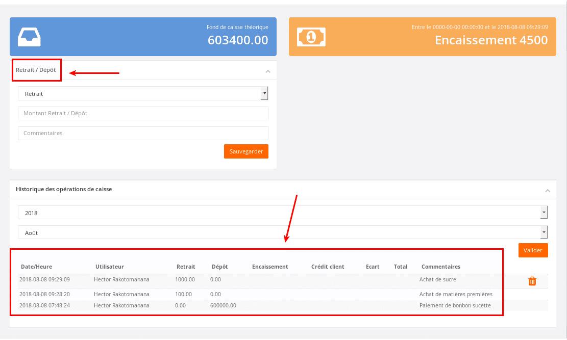 Interface pour la gestion de caisse