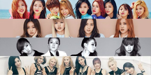 De haut en bas: Twice, Blackpink, 2NE1 et SNSD