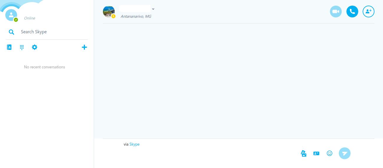 Voici comment se présente l'interface de Skype en ligne