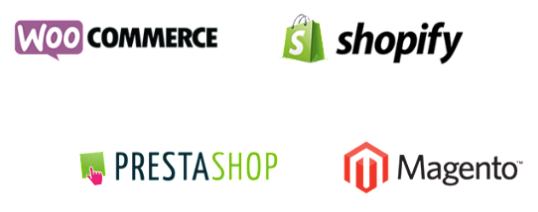 Factomos est compatible Woocommerce, Shopify, Prestashop et Magento
