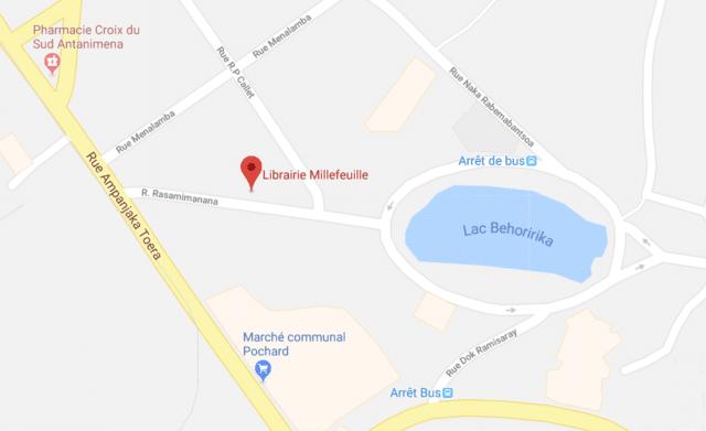 Plan de localisation de la librairie-café Mille Feuilles