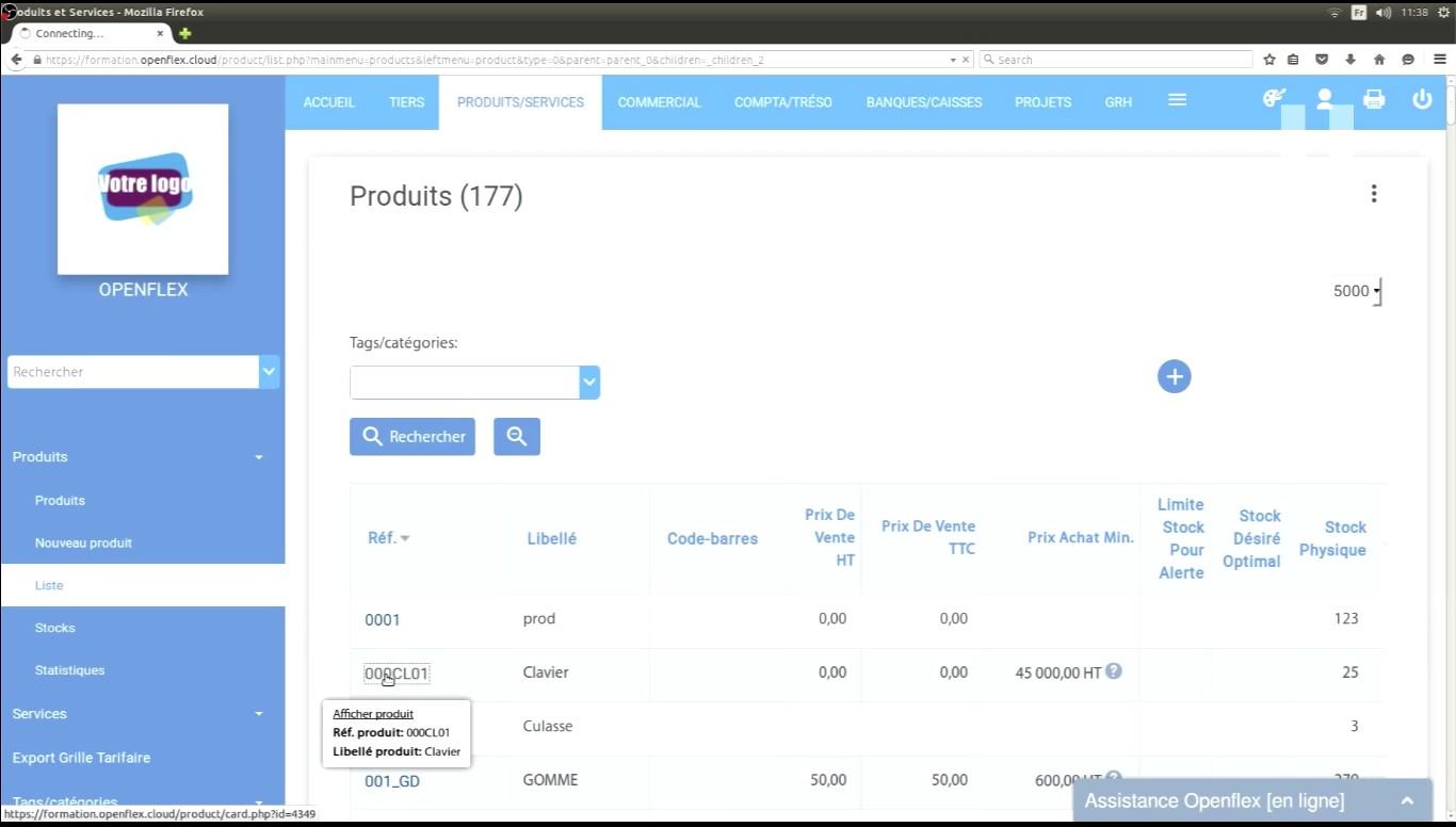 Cliquer sur référence pour ouvrir la fiche du produit