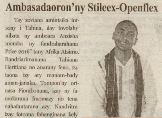 Tahina Fy'Deliko, Ambasadaoron'ny Stileex-Openflex - Titre du 12 juillet 2018 sur Tia Tanindrazana