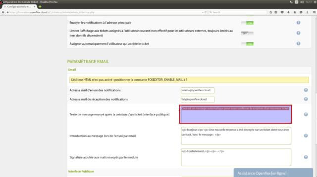 Vous pouvez saisir un message par défaut pour les notifications par e-mail lors des créations des tickets dans l'espace publique