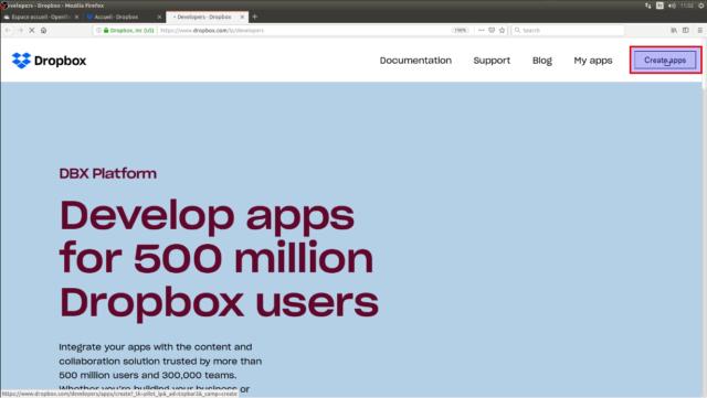 """Cliquez sur """"create apps"""" en haut de l'écran"""
