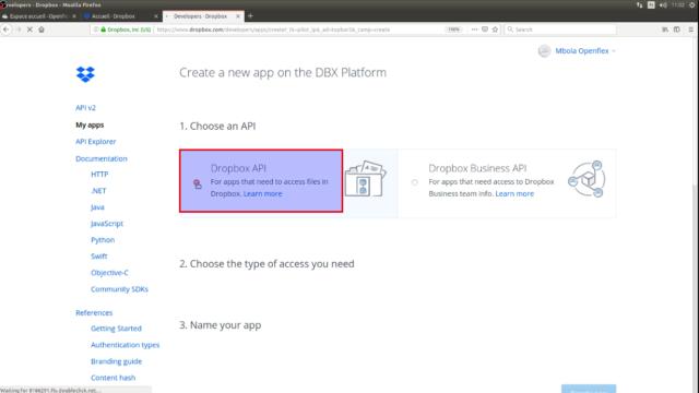 "Sélectionnez ""Dropbox API"""