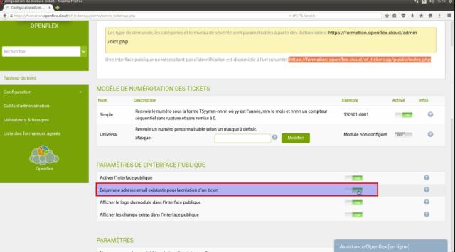 """Vous pouvez activer le champ """"exiger une adresse mail existante pour la création d'un ticket"""""""