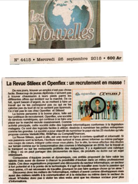 La Revue Stileex et Openflex: un recrutement en masse! - Titre du 26 septembre 2018 sur Les Nouvelles