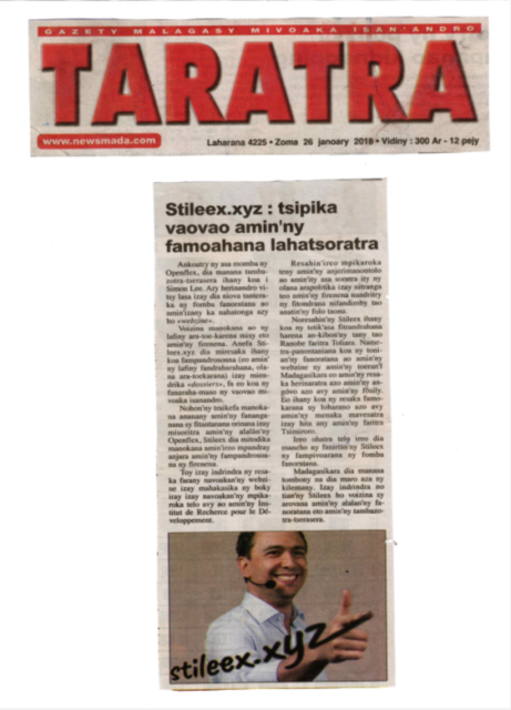 """""""Stileex.xyz: tsipika vaovao amin'ny famoahana lahatsoratra"""" - Titre du 26 janvier 2018"""