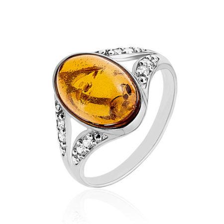 Une bague en argent ornée d'ambre pour femme proposée par la bijouterie en ligne Histoire d'Or