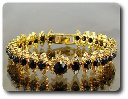 Bracelet Saphir noir plaqué Or 18 K, à 28,73 €