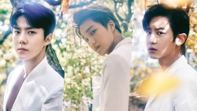 De gauche à droite: Sehun, Kai et ChanYeol, le rap line des EXO