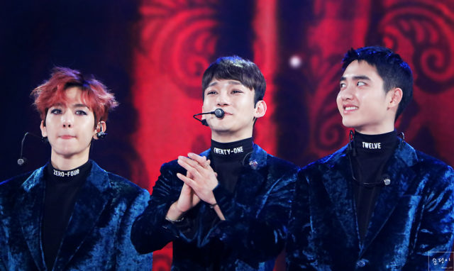 """De gauche à droite: Baekhyun, DO et Chen, les """"main vocalists"""" des EXO"""