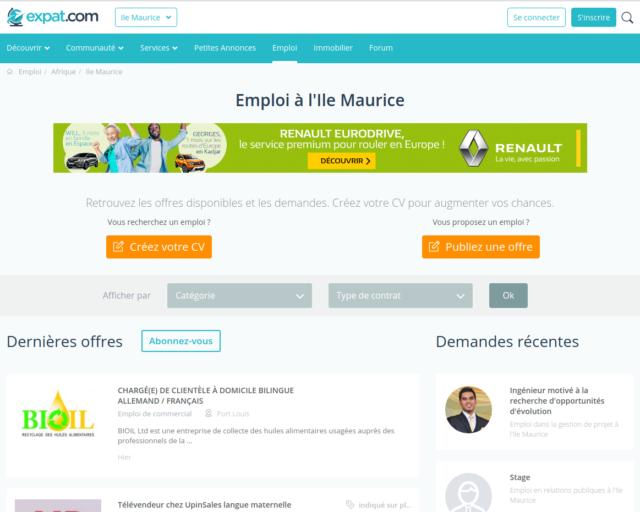 Page des offres d'emploi à Maurice d'Expat.com