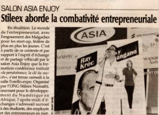 """""""Stileex aborde la combativité entrepreneuriale"""" - Titre du 26 mars 2018 dans L'express de Madagascar"""