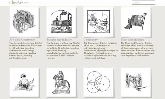 Parmi les images à télécharger gratuitement sur ClipArt ETC, les dessins noirs et blancs illustrent très bien des thèmes historiques