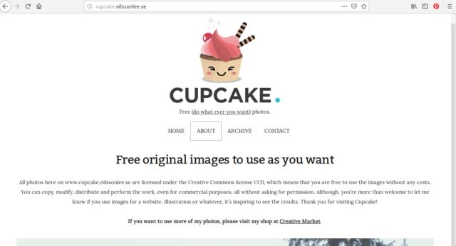 Toutes les images sur Cupcake sont sous licence Creative Commons CCO. Il n'y a donc aucune limite à leur utilisation