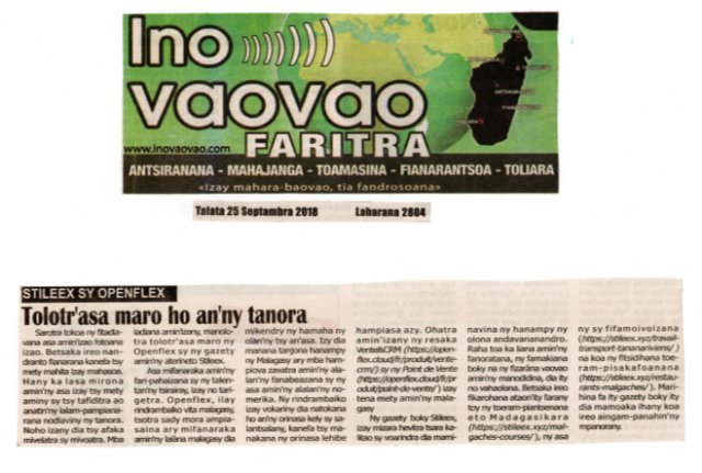 Presse Ino Vaovao du 25 septembre 2018
