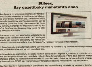 Stileex, ilay gazetiboky mahatafita anao - Titre du 27 juillet 2018 sur Ino Vaovao