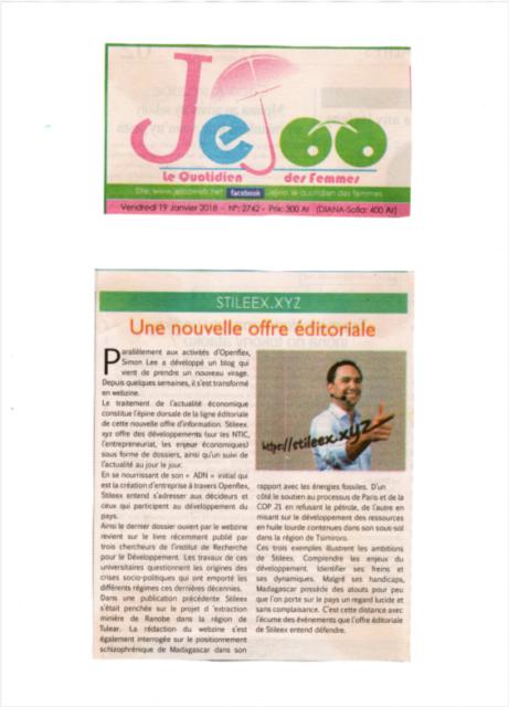 """"""" Une nouvelle offre éditoriale """" - Titre sur Jejoo du 19 janvier 2018"""