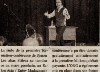 """""""Salon Asia/Enjoy Madagascar : une formation-conférence de Stileex sous le signe de la persevérance, au programme"""" - Titre du 22 mars 2018 dans Jejoo"""