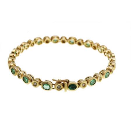 Bracelet Émeraudes Ovales sur Or Jaune 18k à 6 400 €