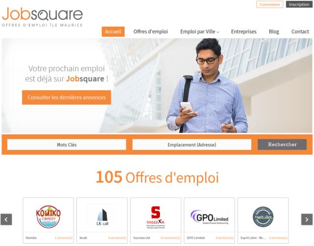 Jobsquare,un site d'offres d'emploi à Maurice très élégant
